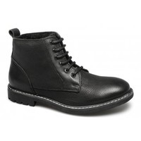 Lucini JARRETT Mens Leather Lace-Up Winter Boots Black