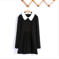 Fashion Retro Slim Mini Women Peter Pan Collar Contrast Collar Baby Doll Dress