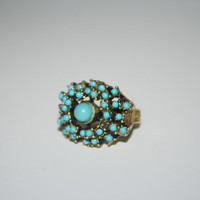 Heavy Adjustable Vintage Gold Tone Ring with tiny turquoise FREE US shipping