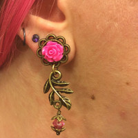 7/16 00g 0g 2g 4g Hot Pink Rose Plugs, Wedding Plugs, Bridal Jewelry, Bridesmaids, Formal Wear, Special Occasion