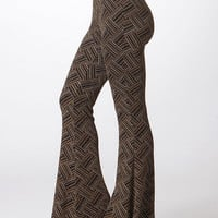Brenda Basketweave Knit Bell Bottom Pants-Gold Speck-Black Multi