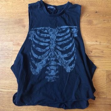 Black muscle tee with rib cage and floral print
