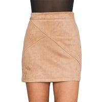 Retro High Waist Patchwork Suede Thick Mini Pencil Skirts