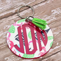 """Personalized Lily Inspired 3"""" key chain Monogrammed Key Chain  Lilly Preppy Key Chain Leather tassel Key Fob Chain Preppy Monogram Key Ring"""
