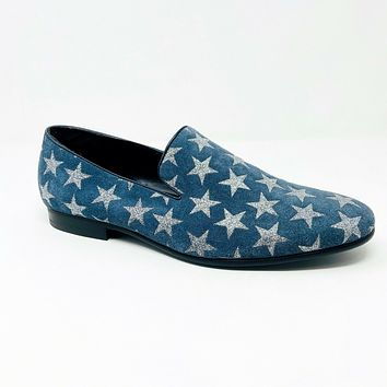 Kenneth Cole Reaction Trophy Loafer Leather Blue Silver Mens Slip On Shoes