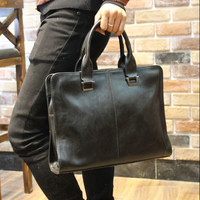 Men's Leather 13 Inch Laptop Bag Crossbody Shoulder Handbag Briefcase Black