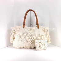 ON SALE Crochet beige celebrity style handbag with genuine leather handles and matching wallet