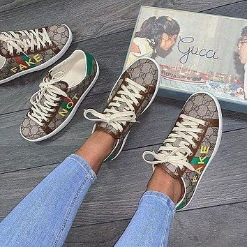 "GUCCI Ace women's ""fake / not"" printed sneakers"