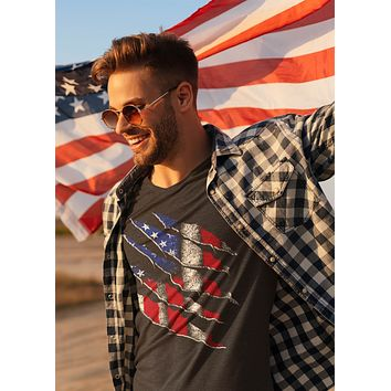 Men's Patriotic Shirt American Flag T Shirt American Shirt 4th July Military Patriot Tee Grunge Distressed Unisex Man