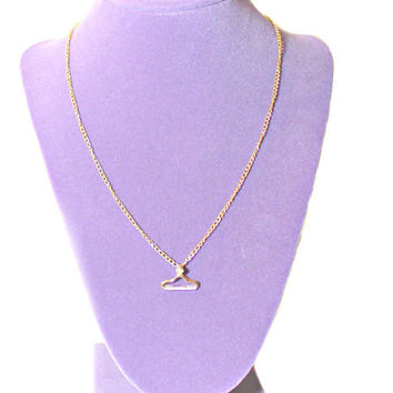Gold Clothing Hanger Chain Pendant Necklace, small, fashion, dainty