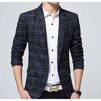 Mens Navy Plaid Blazer
