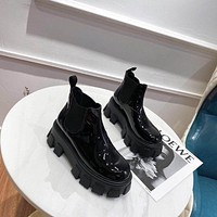 prada trending womens black leather side zip lace up ankle boots shoes high boots 30