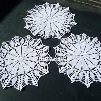 Three White Crochet Cloths - Handmade Vintage Doily