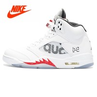 "Original New Arrival Authentic Nike Air Jordan 5 Retro ""Supreme"" Mens Basketball Shoes Sport Outdoor Sneakers 824371-101"