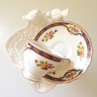 Vintage English Fine Bone China Demitasse Tuscan Tea Cup and Saucer Tea Party Cottage Style
