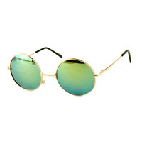 Green Round Lens Metal Frame Sunglasses