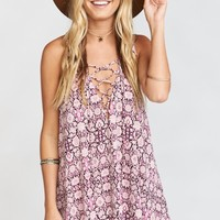 Rancho Mirage Lace Up Tunic Dress ~ Cabernet Rose