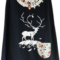 ROMWE | Lace Deer Floral Print Blue Hoodie, The Latest Street Fashion