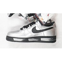 "PEACEMINUSONE x Nike AF1 ""Para-Noise Part 2"" black silver low-top flat sneakers shoes"