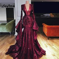 Dubai Muslim Abaya Turkish Long Sleeves Evening Dress Ball Gown