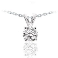 14k White Gold Round Cut Solitaire Diamond Pendant Necklace (0.35ctw, H-I Color, SI2-I1 Clarity)