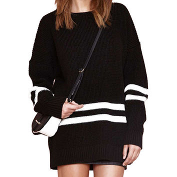 Black White Striped Long Sleeve Knit Sweater