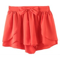 ROMWE Asymmetric Bowknot Layered Flouncing Orange Shorts