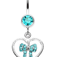 Glam Bow-Tie in Heart Belly Button Ring