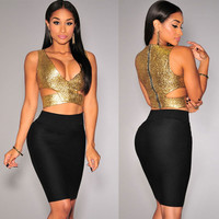Gold Cut-Out Crop Top