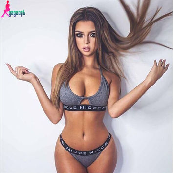 Gagaopt 2016 Sexy Bra Set Fashion Sport Women Underwear Set Push Up Letter Brassiere Lingerie Set Ensemble Soutien Gorge