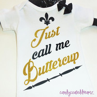 Just Call me Buttercup Onesuit bodysuit designer couture kids baby newborn todler cute pink girly new fragrance gift custom trendy earrings
