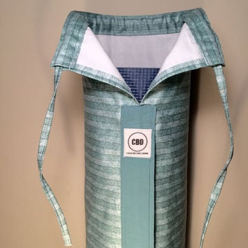 Handmade Large Yoga Bag, Yoga Mat Bag,  Pilates Mat Bag, Yoga Tote, Yoga Carrier - Aqua Blue Stripes with Shoulder Strap and Drawstring