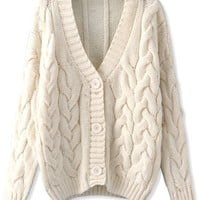 Relaxed Cable Knit Cardigan - OASAP.com
