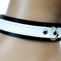 "D Ring with White Strap Choker Fetish Bondage Leather Collar 1"" Wide"