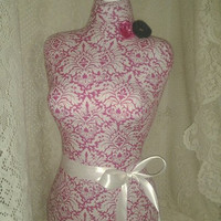 Pink Damask Dress form mannequin craft show display in Burlap,Vintage Grey, Shabby chic white or Sand linen store design your choice Sale