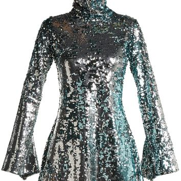 Metallic sequin-covered crepe mini dress | Halpern | MATCHESFASHION.COM US