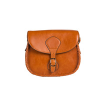 Braided Trim Structured Shoulder Bag - Chestnut