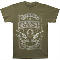 Johnny Cash Men's  Mean As Hell T-shirt Green