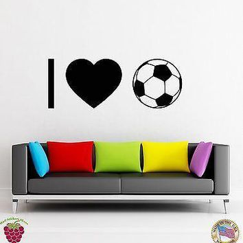 Wall Sticker I Love Soccer Sport Football Decor for Gym  Unique Gift z1417