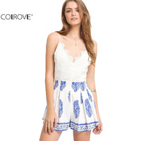 COLROVE Sexy White Blue Print V Scallop Ladies Playsuits Summer Style New Women Backless Lace Spaghetti Strap Romper