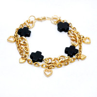 Cross My Heart Gold and Black Charm Bracelet