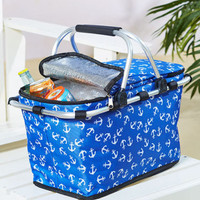 Nautical Anchors Insulated Tote Cooler Beach Pool Party Sports Camping Hiking
