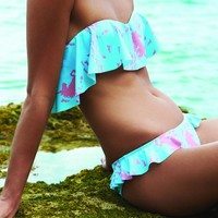 2015 Beach Riot Swimwear Magic Bikini Top - Aqua & Pink Unicorn Print Bandeau Top with Ruffles