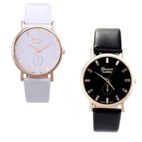 Womens Fashion  Lady Geneva Roman Leather Band Analog Quartz Wrist Watch = 1931852932