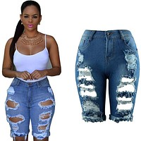Summer Fashion Women Sexy Ripped Hole Jeans Pants Hollow Out Stretchy Jeans Denim Pants Knee length Half Comfy Trousers YF488