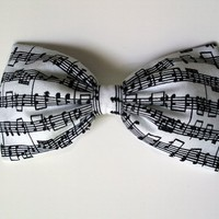 Symphony of Style Hair Bow- Music Notes Print- Barrette