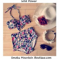 Wild Flower Retro High Waist Swimsuit ( Floral Top & Bottom) S/M - HW323 - Smoky Mountain Boutique