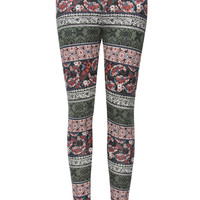 Full Tilt Paisley/Medallion Girls Leggings Olive Combo  In Sizes