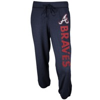 Atlanta Braves Ladies Memoir Knit Capri Pants - Navy Blue
