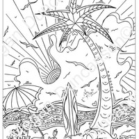 Tropical Island 2 Drawing for Download Coloring Page by Megan Duncanson